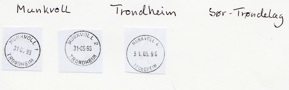 Stempelkatalog  7045 Munkvoll, Trondheim kommune, Sør-Trøndelag