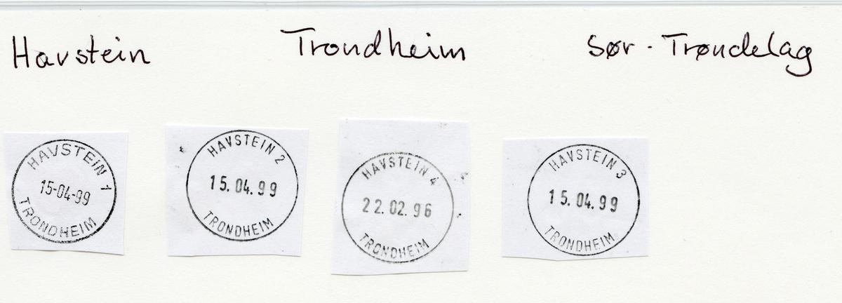 Stempelkatalog Havstein, Trondheim, Sør-Trøndelad
