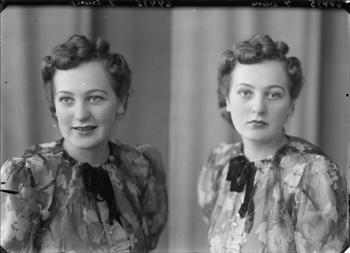 Portrett. Ung mann i smoking med mørk sløyfe og ung kvinne i blomstret kjole med mørk detalje i halsen. To foto av hver. Bestilt av Knut Bakke.