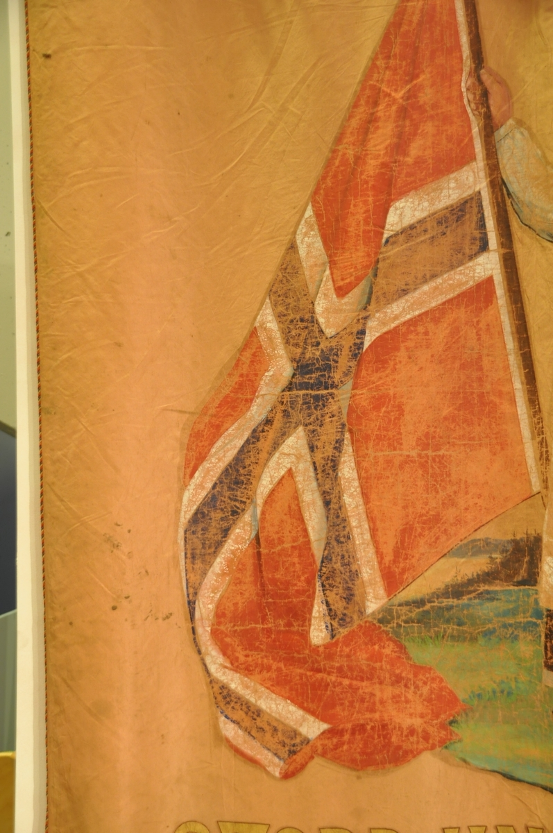 Jente med flagg og riksvåpen