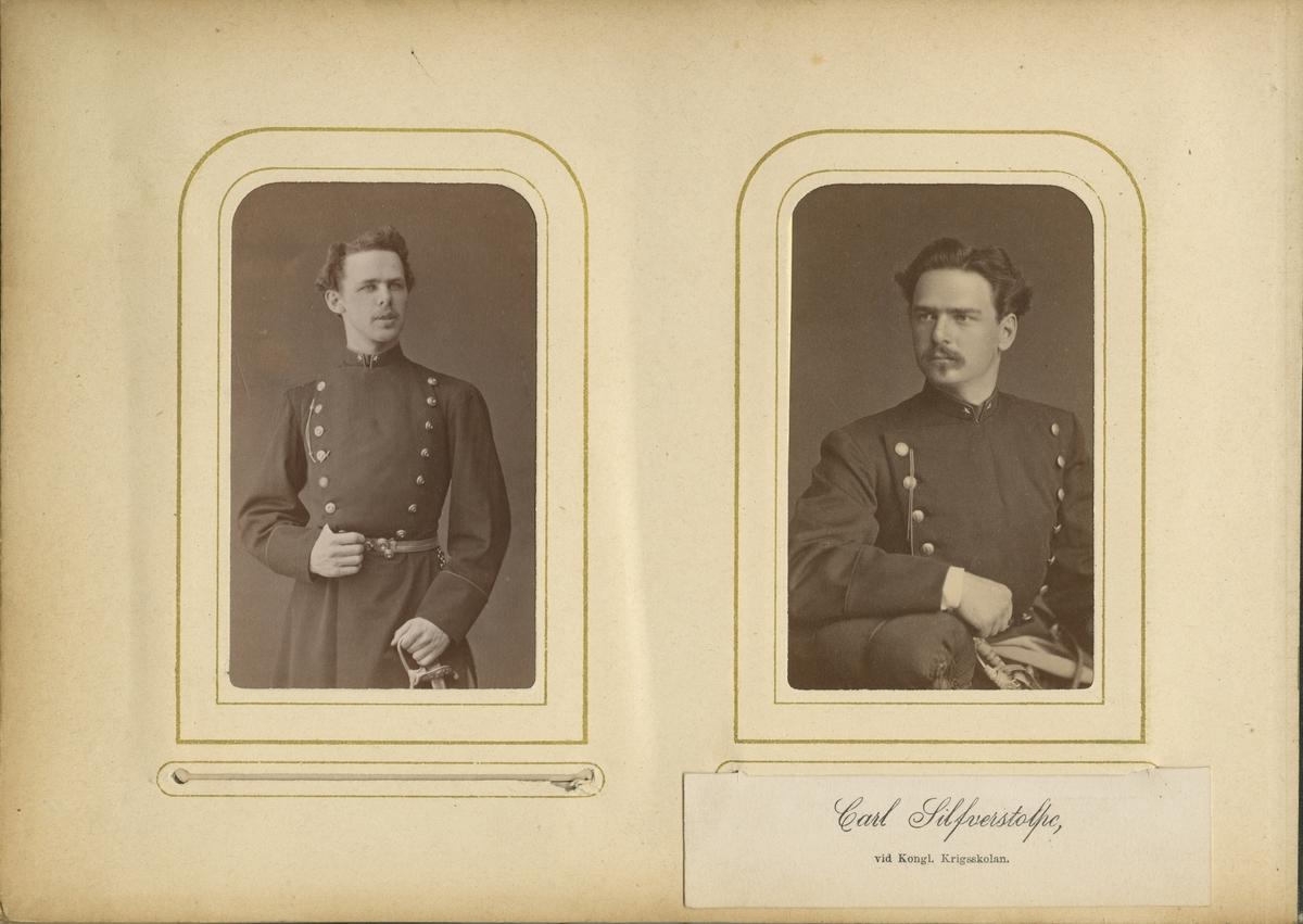 Porträtt av Oscar Fredrik Mascoll Silfverstolpe, underlöjtnant vid Närkes regemente I 21.  Se även bild AMA.0006727, AMA.0008530, AMA.0008585 och AMA.0021760.