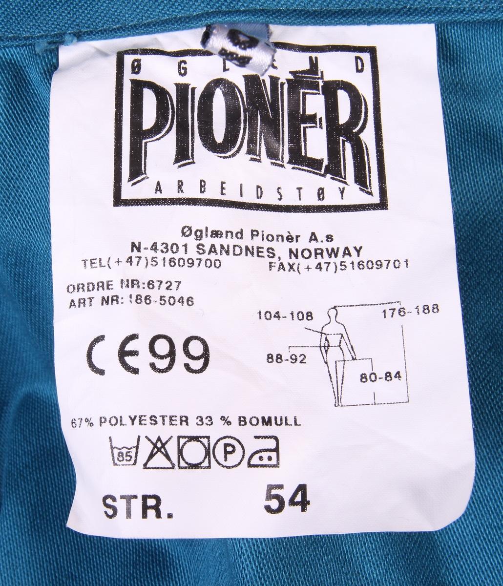 94d59d7f Blågrønn arbeidsdress med lommer og strikk i livet. Ubrukt med originale  merkelapper.