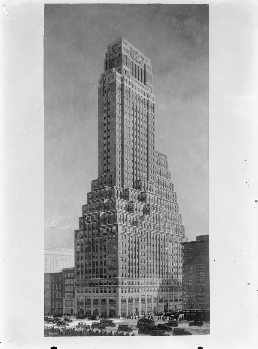 Målning föreställande Fred F. French Building på 45th Street at 551 Fifth Avenue, Manhattan, New York City.  1928 flyttade SJ Resebyrå sin New York-verksamhet från 52 Vanderbilt Avenue till den avbildade byggnaden där den huserade under namnet 'Swedish State Railways Travel Information Bureau' fram till 1934 då man lade ner verksamheten i New York.