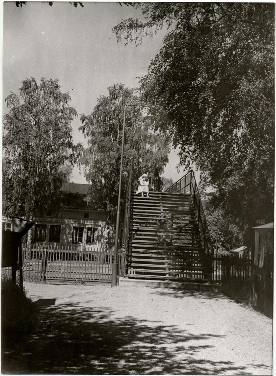 Gångbro över Hässelby villastad bangård. Sommaren 1956.