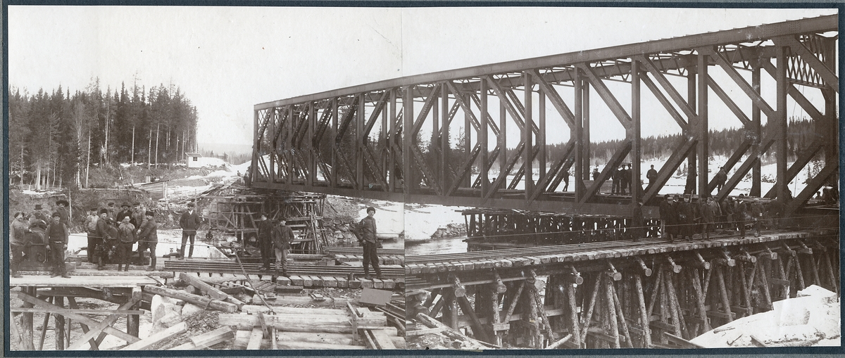 Bro över Indalsälven. Under uppsättning.Spannvidd på bron är 60.68 meter