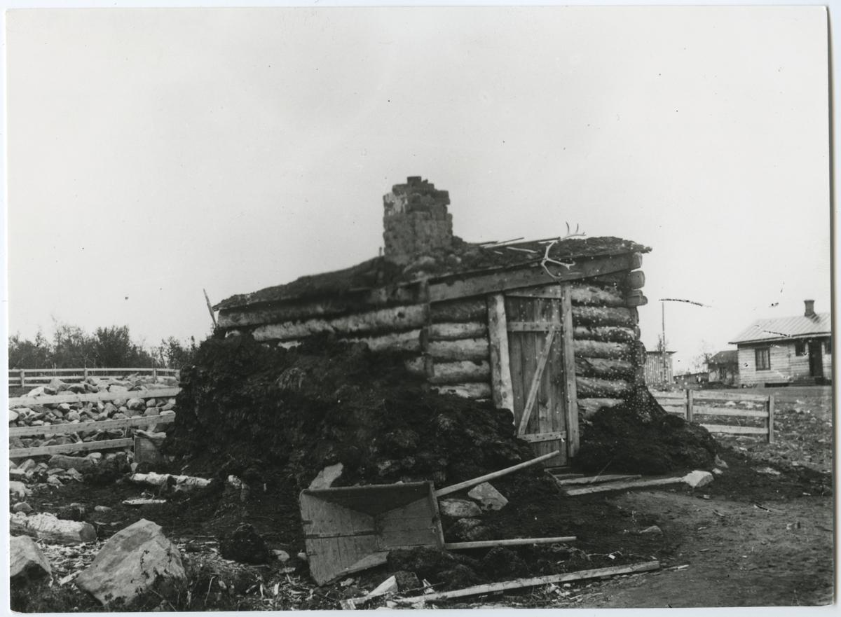 Rallare barack intill järnvägen förbi Luossvaara