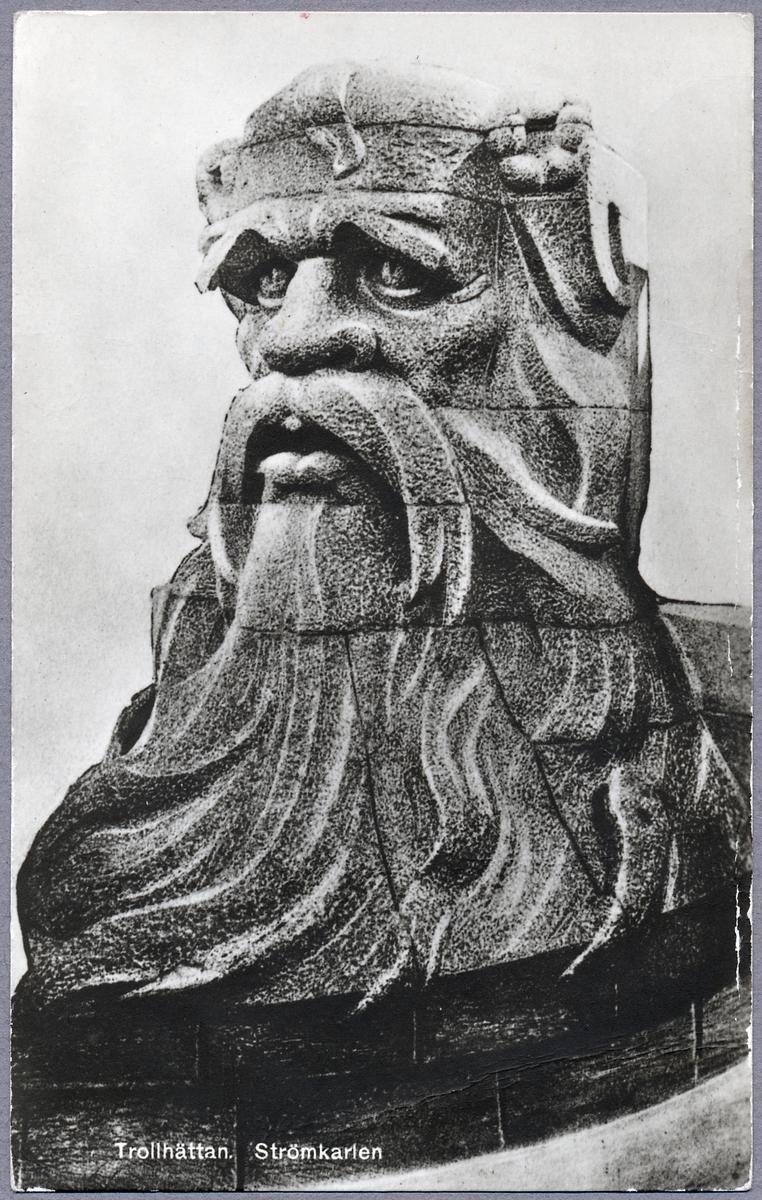 Skulpturen Strömkarlen som finns på Strömkarlsbron som går över Göta Älv och fungerar samtidigt som fördämning för Trollhättefallen.