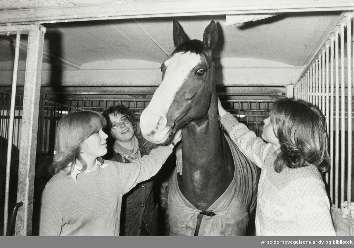 Fossum gård. Fra v.: Nina Faaborg, Marianne Brun og Gorm Dahl. Mars 1981