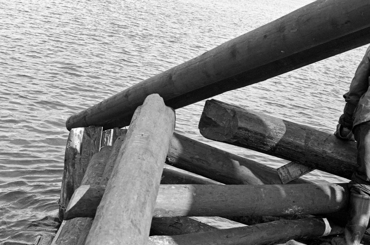 Detalj fra et nybygd fløtingskar i Glomma ved Bingen i Sørum kommune i Akershus.  Dette er et såkalt «reierkar» eller «reiarkar». Atholdslenseanlegget ved Bingen besto av drøyt 50 såkalte steinfylte tømmerkistekar som var forankret i pæler som var drevet ned i elvebotnen. Disse pælene og tyngden i steinmassene skulle bidra til å stabilisere lensekarene, som ble utsatt for stort trykk fra elvestrømmen og de enorme tømmermengdene som skulle holdes igjen her i påvente av ledig kapasitet ved sorteringsanlegget ved Fetsund, altså vid innløpet til innsjøen Øyeren, seks-sju kilometer lengre nede i vassdraget. Noen av lensekarene hadde et noenlunde kvadratisk grunnplan på cirka 10 X 10 meter, men var kunne likevel trues av trykket.  For å gjøre dem mer motstandsdyktige fant fløtingsingeniøren Johs. Johannesen i 1912-13 på at han kunne utstyre «firkantkara» med et plogformet påbygg på motstrøms side. Tømmeret ble presset opp på og over denne plogen, «riar'n». Dermed ble «rierkaret» eller «riarkaret» mer trykket ned mot elvebotnen enn det ble skjøvet i strømretningen.  Dette fotografiet viser sjølve plogryggen – «riar'n» – sett fra toppen av lensekaret skrått nedover mot vannflata. Fotografiet ble tatt i 1961.