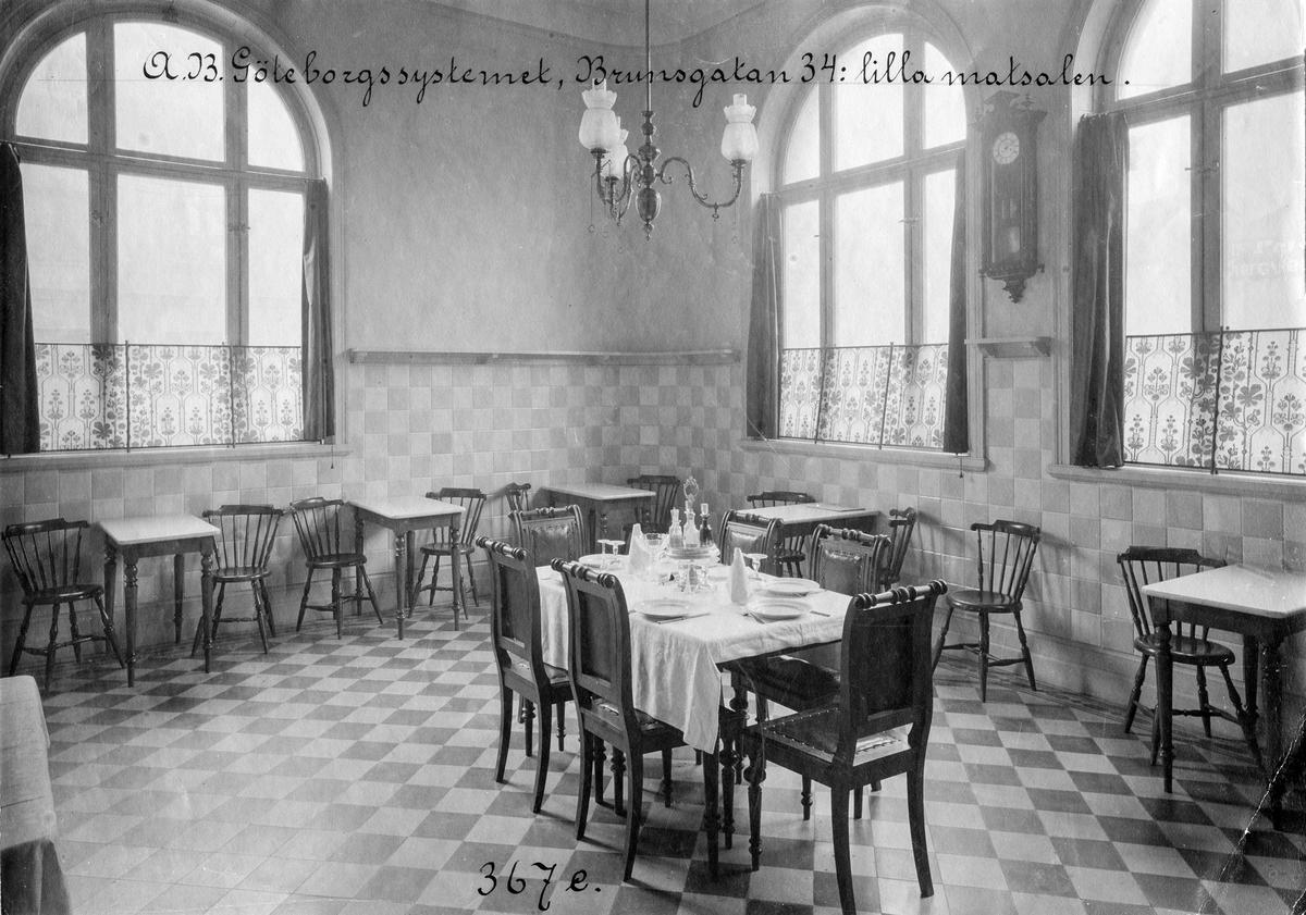 A B Göteborgssystemet, ett utskänkningsställe på Brunnsgatan 34 i Jönköping. Interiör från lilla matsalen på nedre botten.