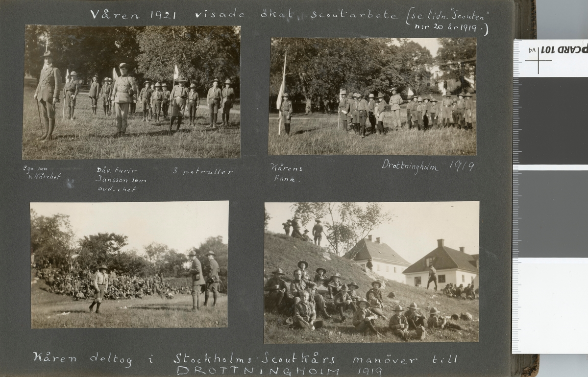 "Bildtext: ""Våren 1921 visade ökat scoutarbete. Ego (Allan Hasselrot) som v. kårchef - Dåv. furir Jansson som avd. chef - 3 patruller."""