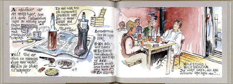 """Sideoppslag fra boka """"Med penn og pensel"""". (Foto/Photo)"""