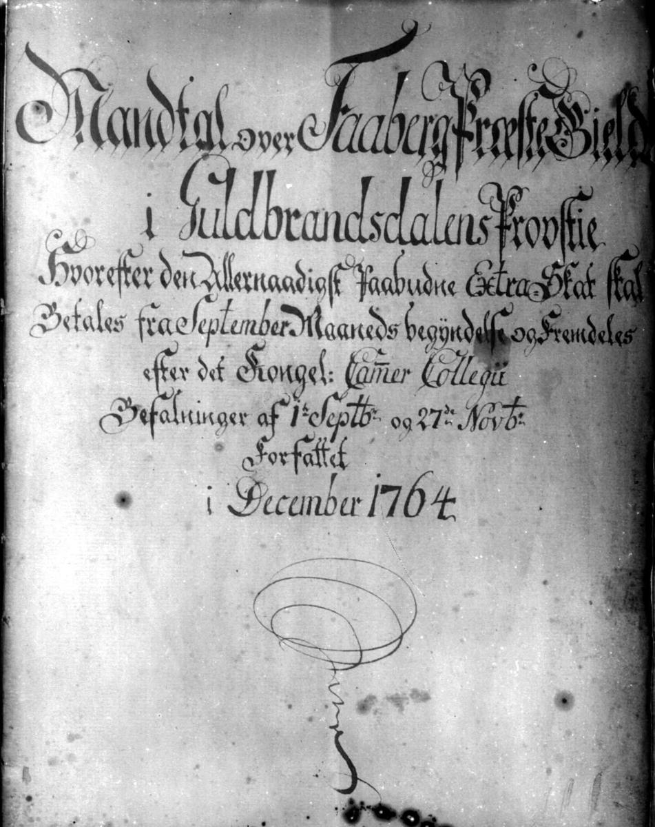 Forsiden av et dokument som sier Mantall i Fåberg prosti fra desember 1764