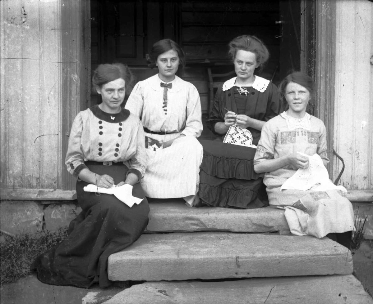 Fire unge kvinner på en trapp, en med en katt, de andre med hardangersøm. To av de skal være Agnes og Kari Jørstad.