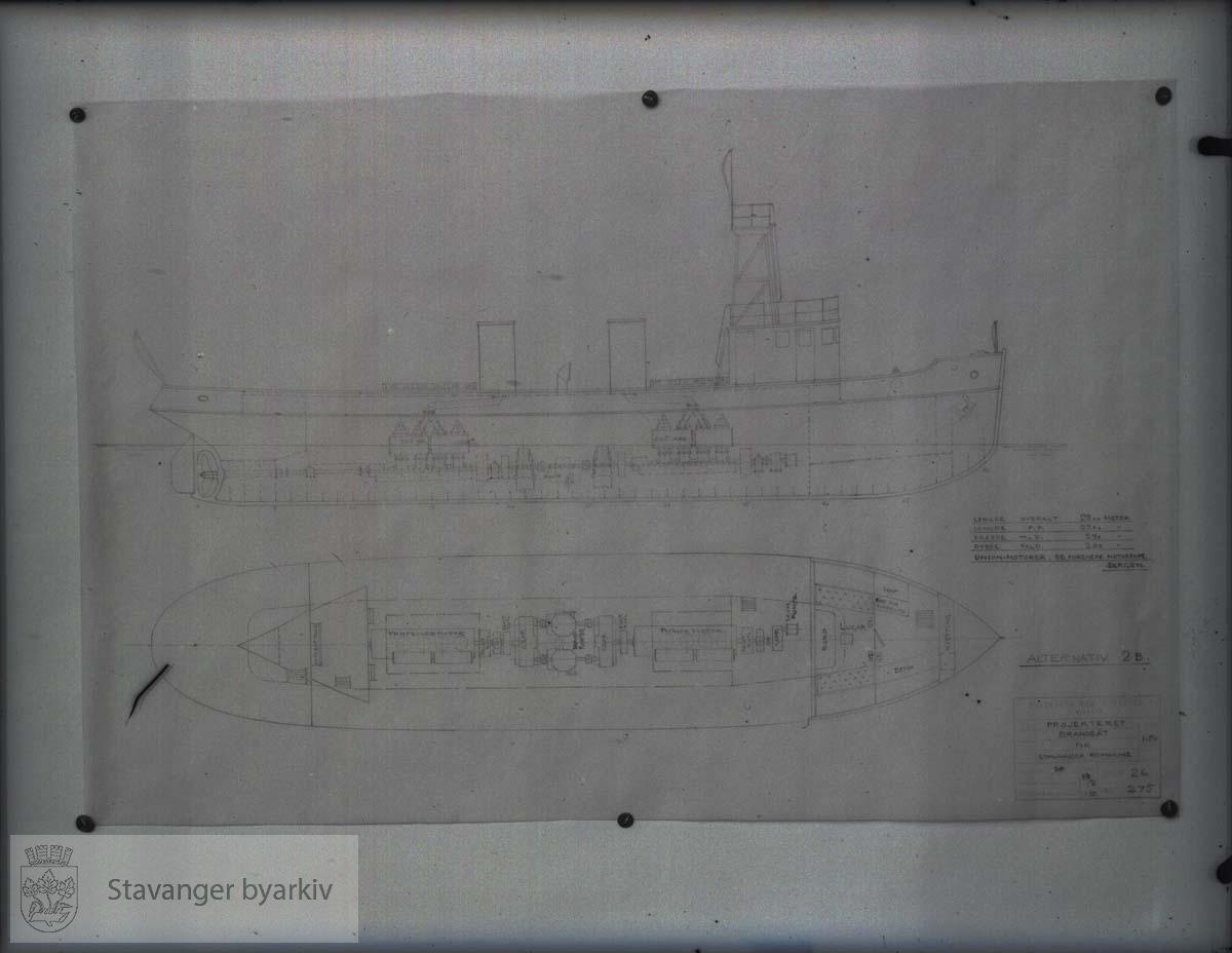 Tegninger av brannskøyten Nøkk ..Rosenberg Mekaniske Verksted