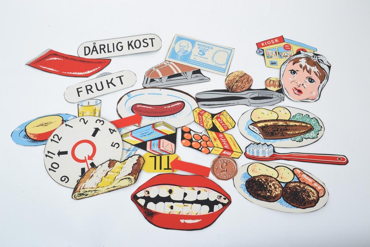 Kulørte flanellsbilder - og tekst brukt til undervisning/utlån ved Troms Heimstellkontor, Harstad. Med teksthefte fra landsforeningen for kosthold og helse.