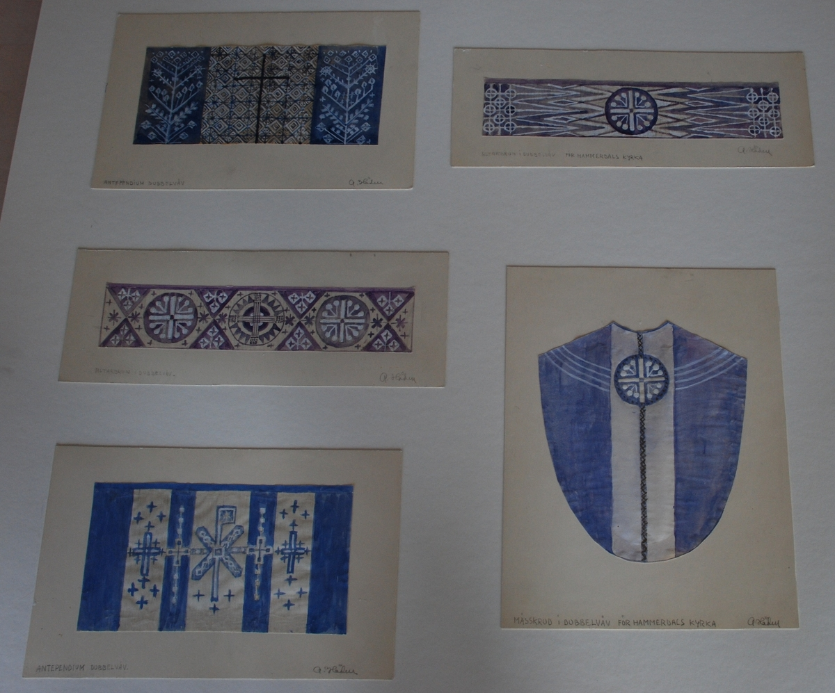 Förslag till kyrkliga textilier (mässkrud, antependium, altarbrun) för Hammerdals kyrka, Jämtland. Komponerade av Anna Hådell.