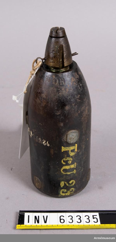 Grupp F II. 7 cm granat, justerad till vikt m/1868 med lätt nedslagsrör m/1864.