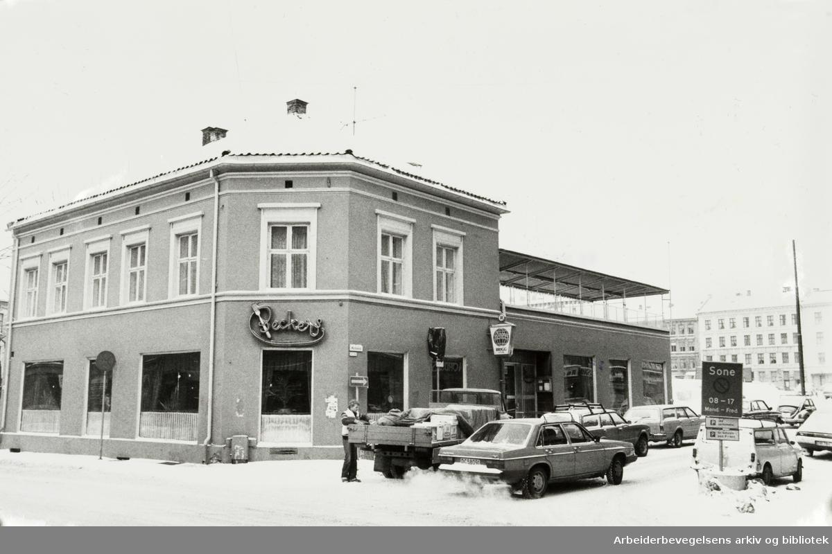 Grünerløkka. Beckers restaurant. Markveien / Nordregate. Februar 1978
