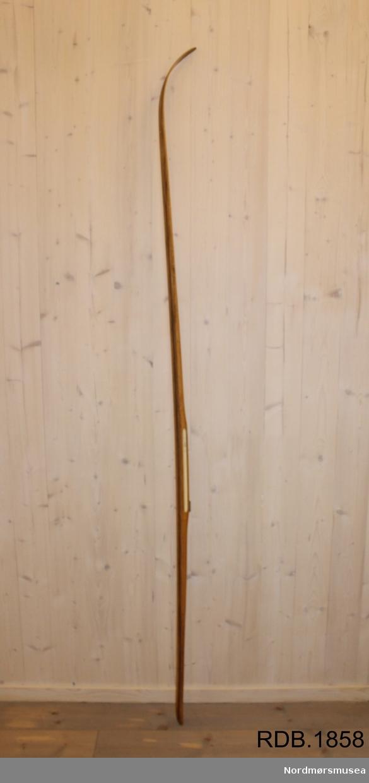 Tilnærmet jevnbred ski med svært liten bue. Bøy uten tupp. Svakt avfaset bakende med litt oppbøy. Metall hælstøtte. Dekorert med ei brun stripe på trehvit bunn.  Stempel fra 1968-sesongen på skiet.