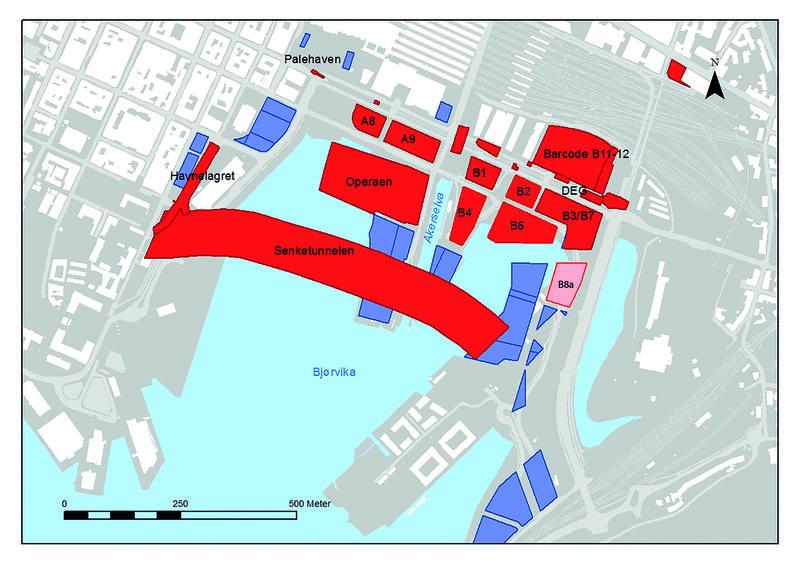 Bildet viser en oversikt over tidligere arkeologisk undersøkte områder i Bjørvika, Oslo. Disse områdene er skravert rødt. Et område er skravert rosa og er den tomta vi for tiden skal undersøke. Tomta kalles B8a. (Foto/Photo)