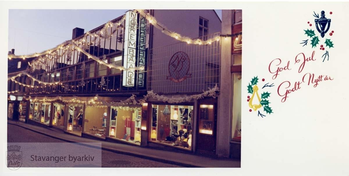 Julekort med Norem Baades fasade avbildet. Juleutstilling. Utskilt fra PA293.