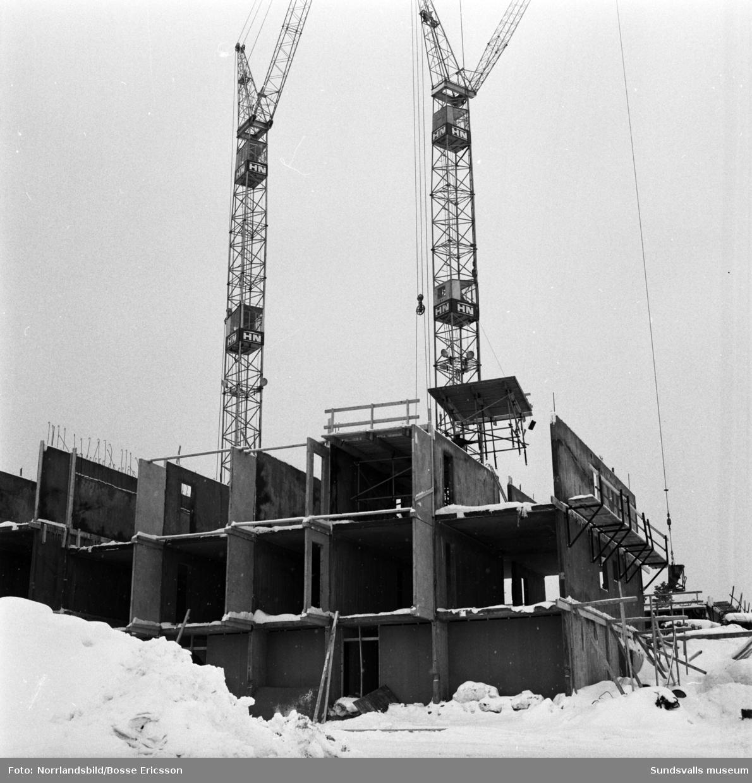 En serie bilder från bygget av bostadsområdet i Bosvedjan.