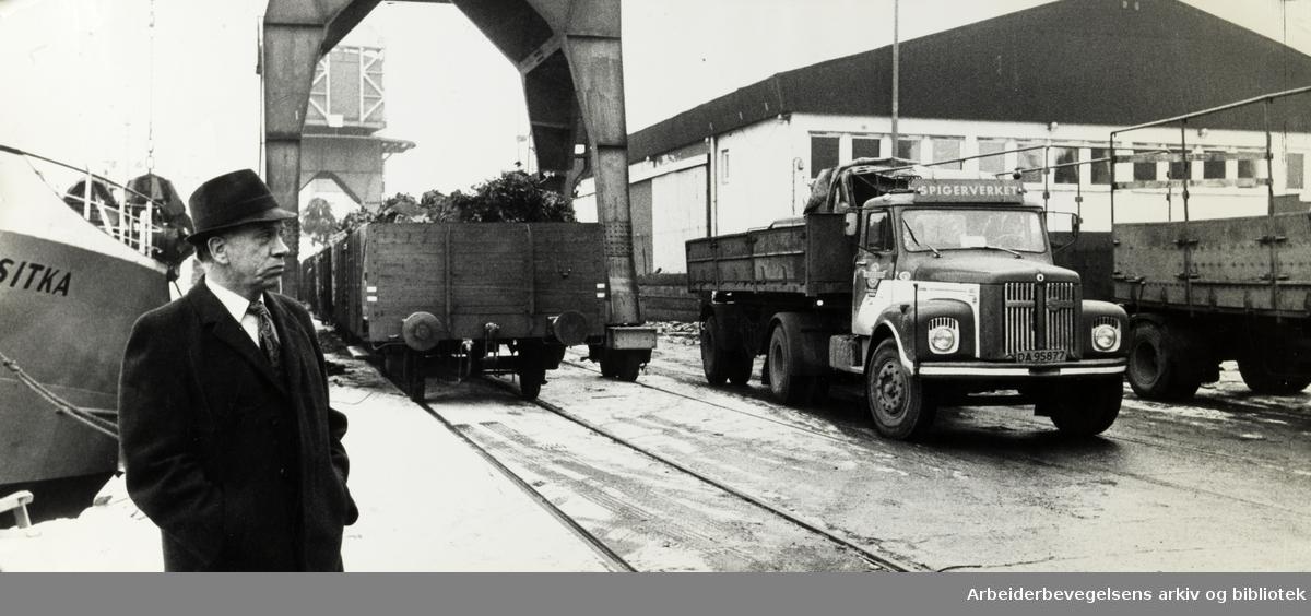 Havna. Plassproblemer på Oslo havn. Formann i Oslo Bryggearbeiderforening: Henry Engmann. Februar 1975.