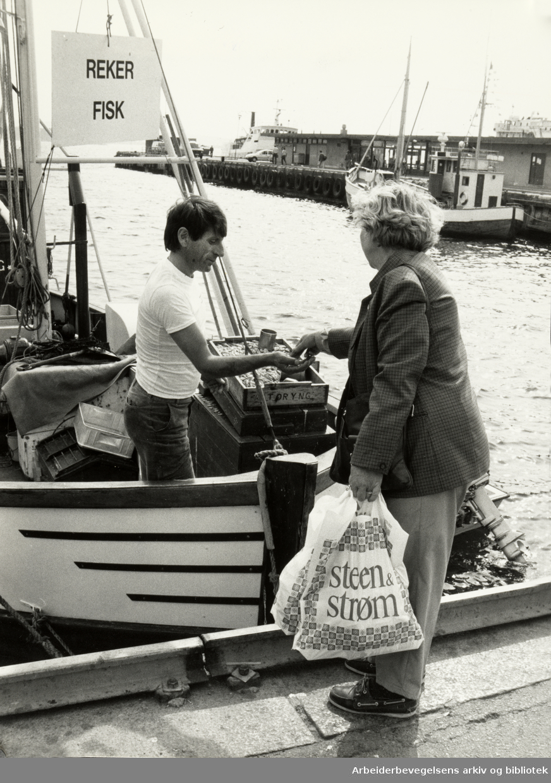 Oslo: Havna. Stemningsbilde. Hanne Ladegård kjøper reker av Bent Ivan Myhre. Juli 1986