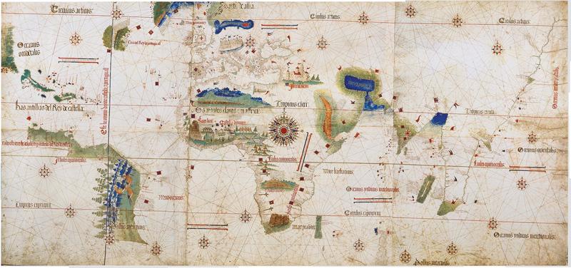 Alberto Cantinos verdenskart fra 1502, som viser nye geografiske oppdagelser som følge av de store spanske og portugisiske sjøreisene på denne tiden (Wikimedia commons ).