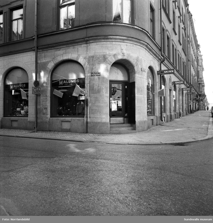 Skinnaffären Malungsboden i hörnet av Storgatan och Tullgatan.
