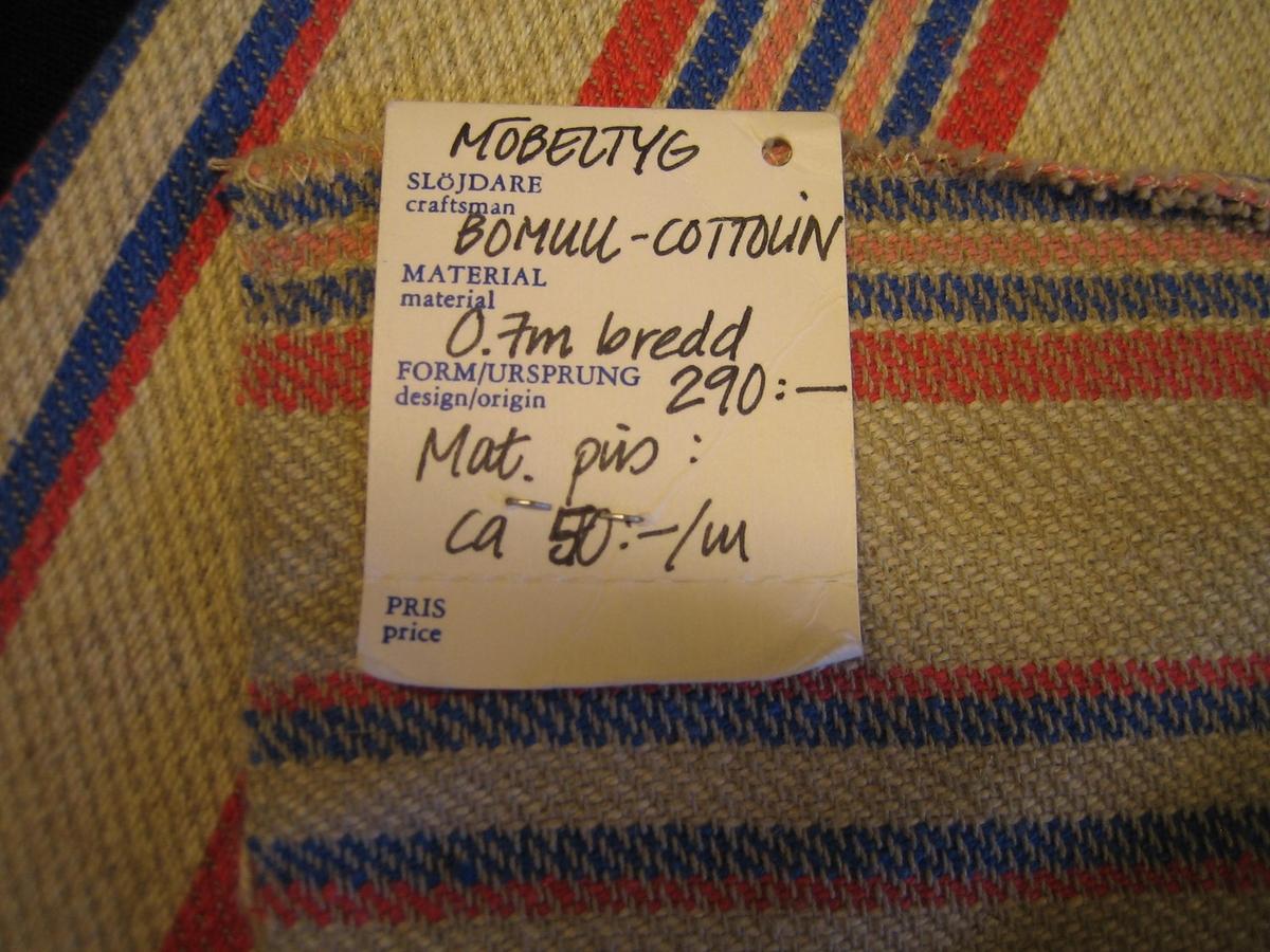 """Ett stadigt möbeltyg i kypert. Tyget är randigt i vitt, rosa och blått . Varpen är grått bomullsgarn. Inslaget är cottolin.   En lapp är fastsatt med texten:""""LÄNSHEMSLÖJDEN SKARABORG SKÖVDE-LIDKÖPING"""" på ena sidan och """"Möbeltyg, Bomull-Cottolin, 0,7m bredd, 290:-, Mat.pris: ca 40:-/m"""