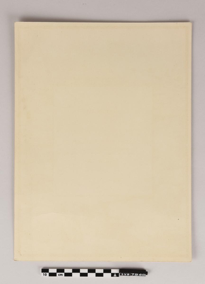 Rektangulært pappark med trykt og håndskrevet tekst og flere håndskrevne signaturer. Det er trykt fargegrafikk av isbjørn, fugler, sel og hvalross. Teksten er på engelsk og på norsk.