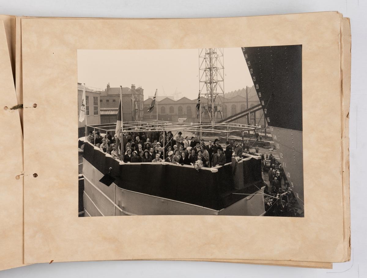 Album med fotografier fra sjøsettingen av motorskipet 'Belisland' (b.1962)