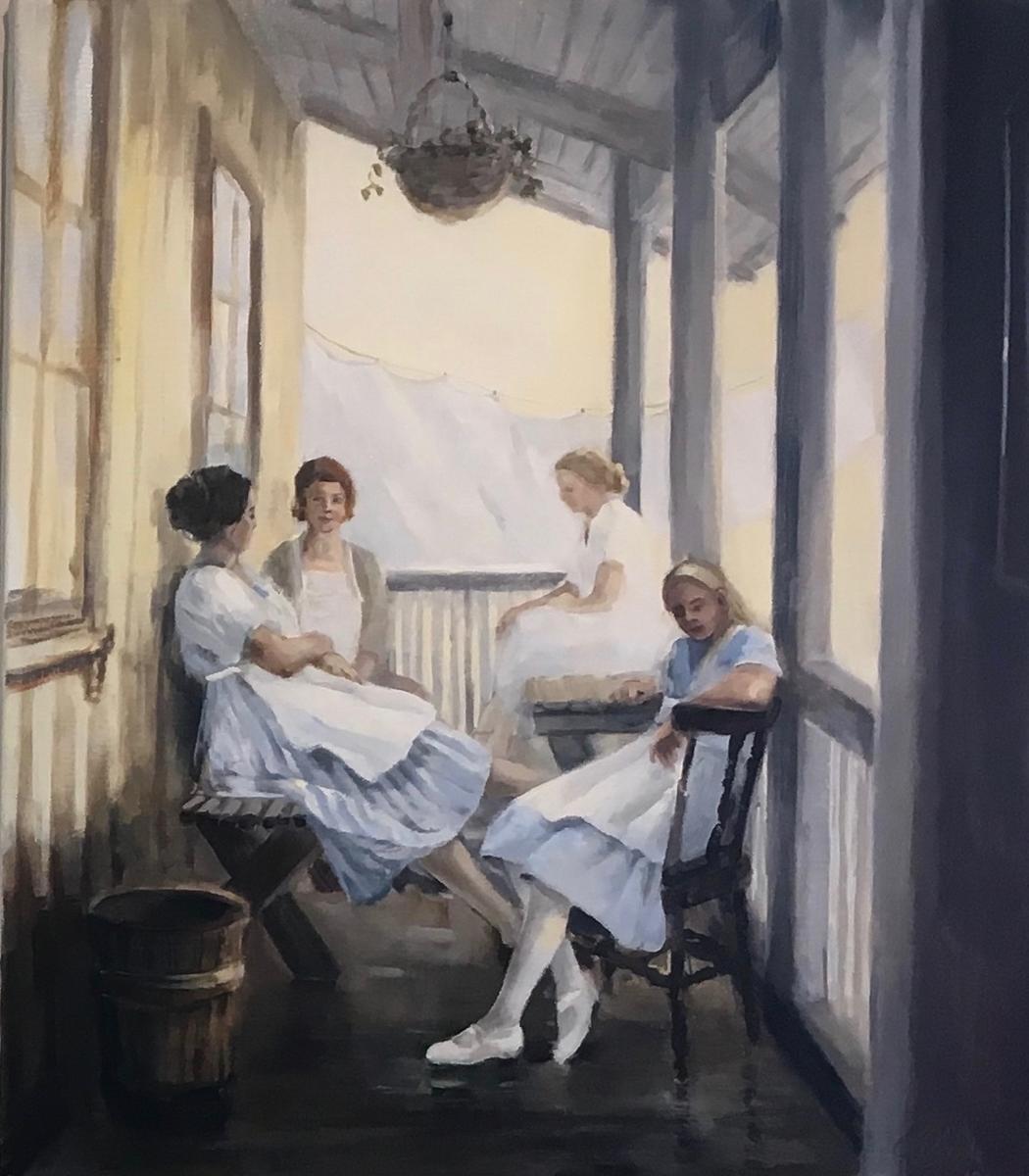 «Pause» Maleri fra utstillinga «Innejinter» av Hilde Grønstad Sunde