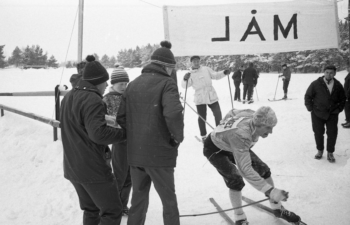 Målgång i skidtävlingen AT-loppet. En man, med nummerlapp på ryggen, åker i mål (AT kan betyda Arboga Tidning)