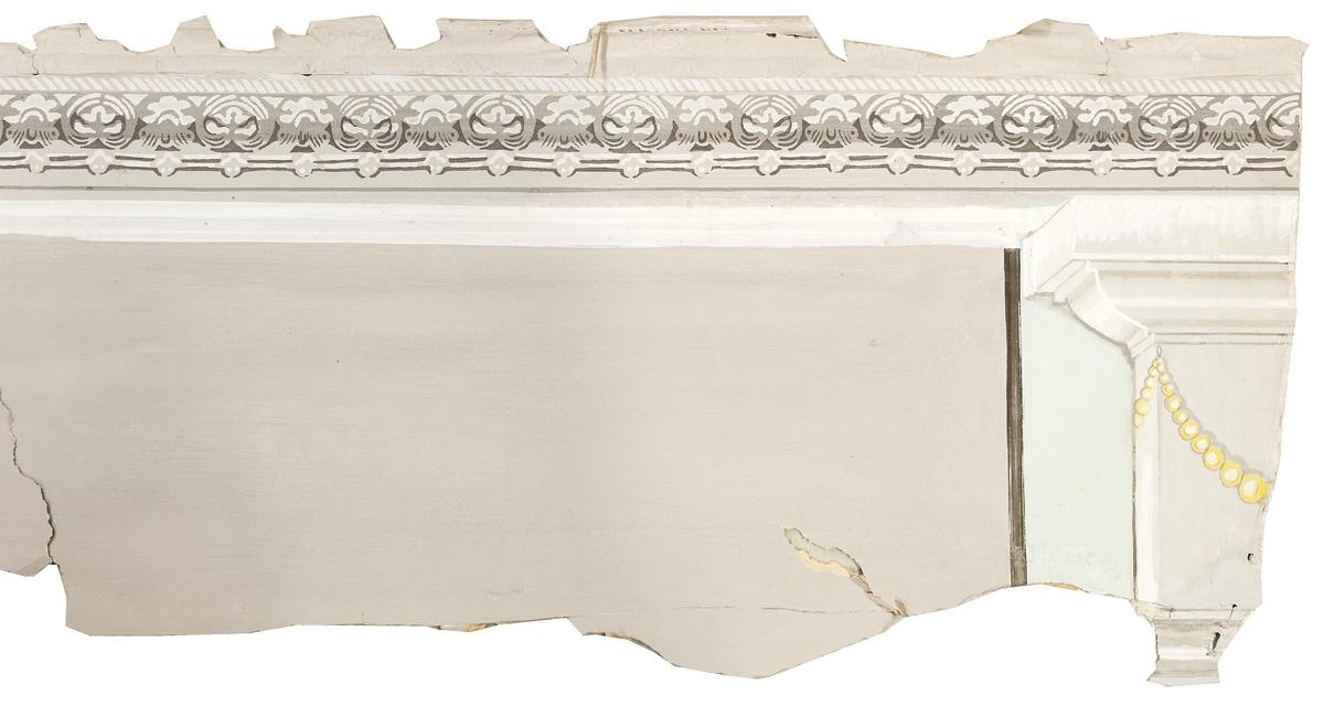 Del av väggmålning. Limfärg på papp. Lösa bitar, motiv av rökande gumma/valljänta med mera.
