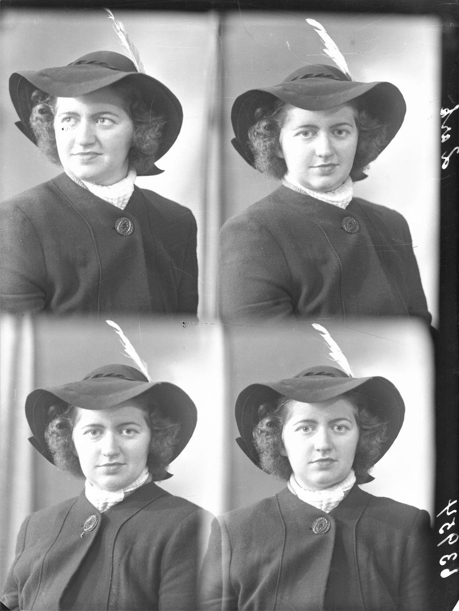 Portrett. Ung mørkhåret kvinne i mørk vinterfrakk, bredbremmet hatt med fjær og lyst halstørkle.  Bestilt av Edith Berg. Sundgt. 148
