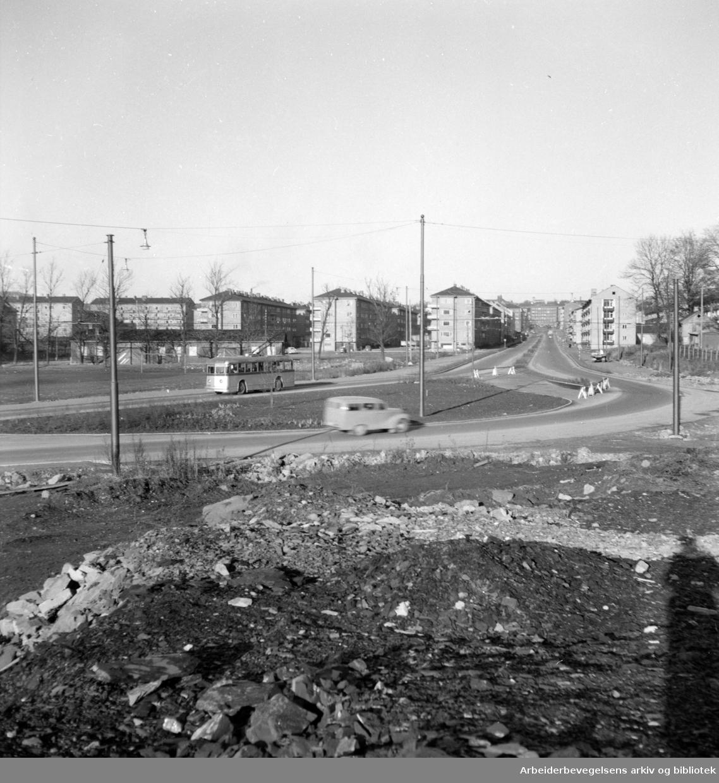 Finnmarksgata mot Carl Berners plass i enden. November 1954