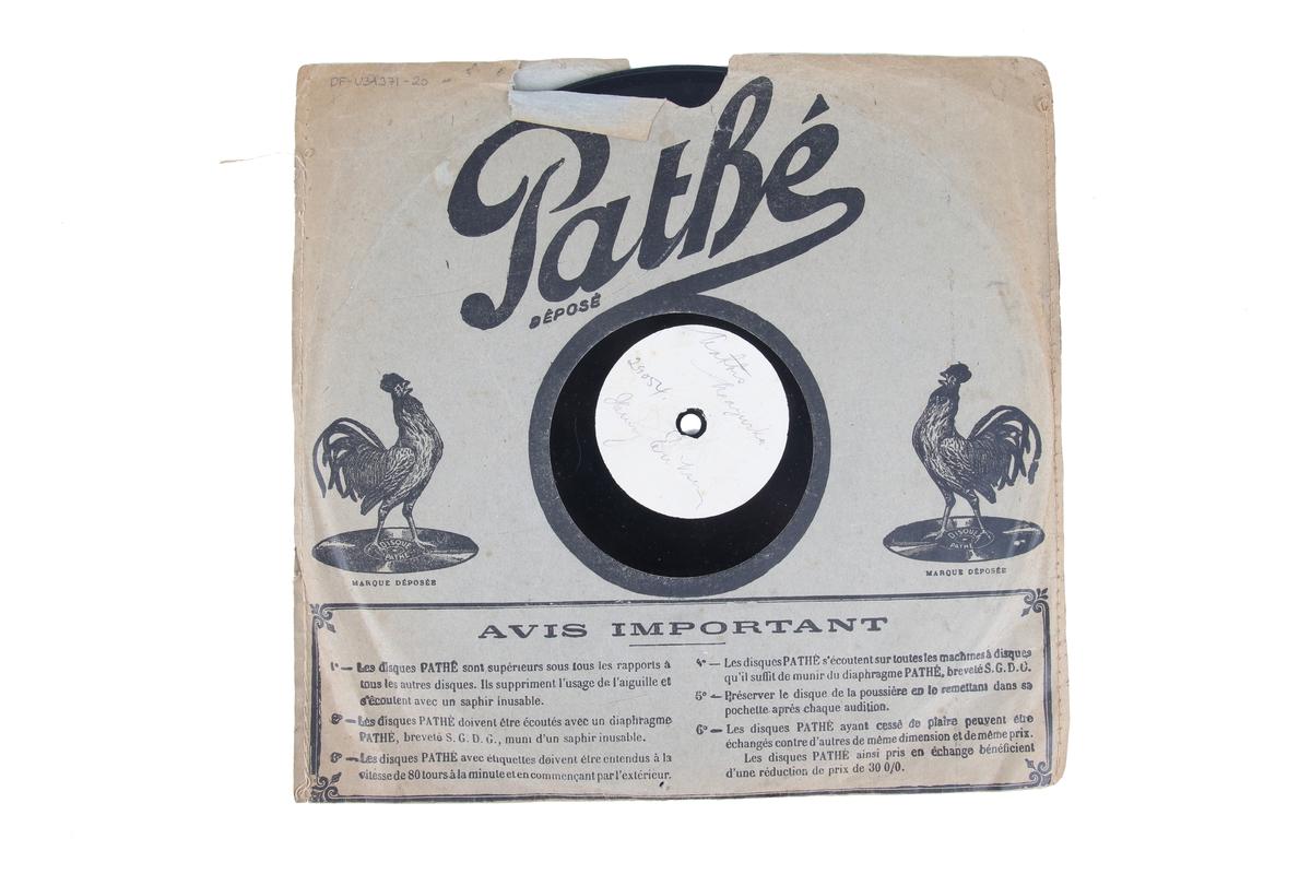 Grammofonplate av skjellakk med originalt plateomslag.