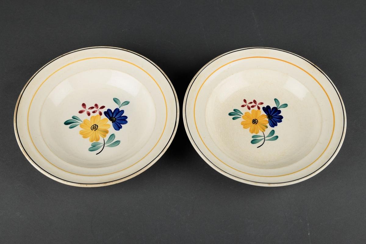 2 hvite skåler, dekorert med en svart og gul sirkel rundt kantene, og i midten et håndmalt bilde av blomster og blader.