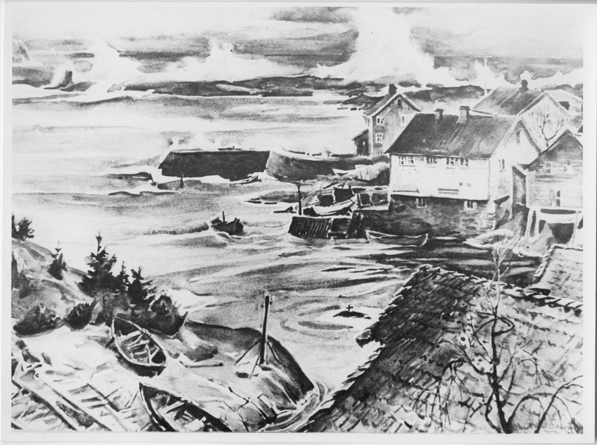 Sogndalstrand, maleri av Lichtenberg. Sokndal