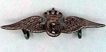 Mössmärke av försilvrat metall i form av vinghjul krönt med kunglig krona. Märket har två öglor på baksidan och sattes fast på mössan med hjälp av en nål. Kunde lätt tas av och på för att borsta mössan.