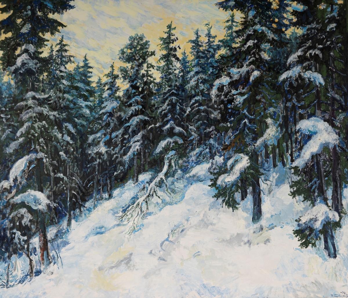 Vinter på Krokskogen [Olje på lerret]