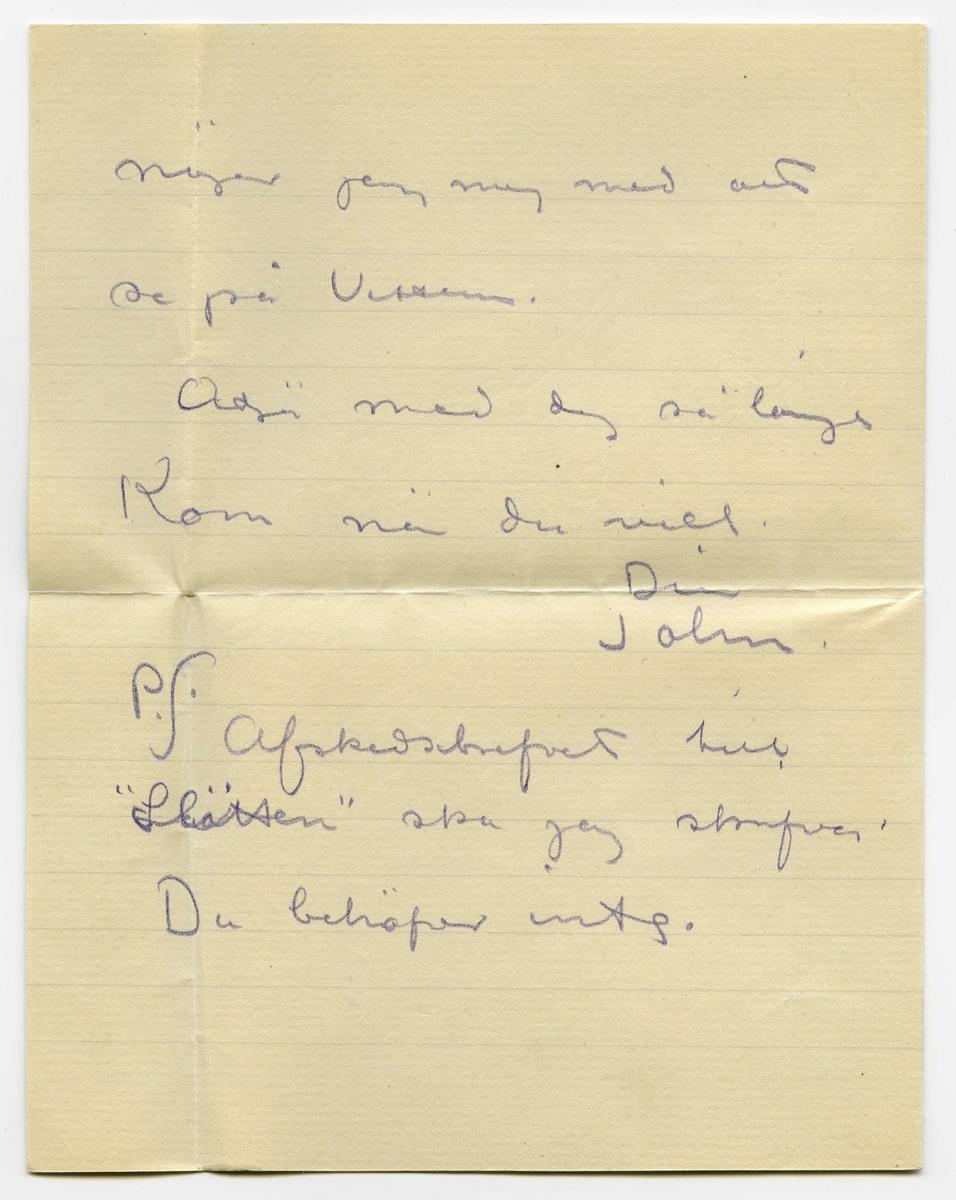 """Brev 1913-07-12 från John Bauer till Ester Bauer, bestående av fyra sidor skrivna på fram- och baksidan av ett vikt pappersark, samt kuvert. Huvudsaklig skrift handskriven med violett färgpenna, samt orden """"Sjövik 12 Juli 1913."""" med svart bläck.  . BREVAVSKRIFT: . [Sida 1] Sjövik 12 Juli 1913. . Kära tösen min. Tack för bref. Det är ju bra att du har fått sällskap Roa dej och var glad. Jag har gnott hela veckan riktigt ordentligt. . [Sida 2] men resultatet är just inte så storartat. Det är märkvardigt hvad mina teckningar kräfver  arbete äfven om det är målmedvetet och utan misstag och uttvävning- gar. Nu skall jag öfvergå . [Sida 3] till Munksagan som är svår men bör kunna bli bra om gud är med mej – Här har regnat hela veckan, jag har inte varit mycke ute – i kväll funderar Jag på att höra musik en stund eller också  . [Sida 4] nöjer jag mej med att  se på Vettern. Adjö med dej så länge Kom när du vill.     Din     John. . P.S. Afskedsbrefvet till """"Slätten"""" ska jag skrifva. Du behöver inte.  . [Kuvert framsida] [I övre högra hörnet finns ett grönt 5-öres frimärke med motiv av Gustav V, och över dessa en poststämpel från - 7 1913] . Fru Ester Lisa Bauer P.R. Visby . [Kuvert baksida] [Poststämpel från Visby 14/7 1913]"""