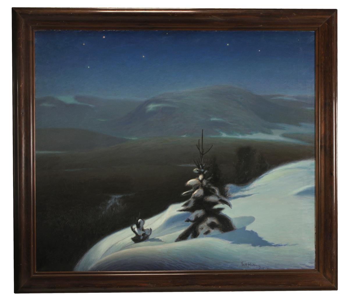 Oljemålning på duk, brun ram, av Ecke Hedberg.
