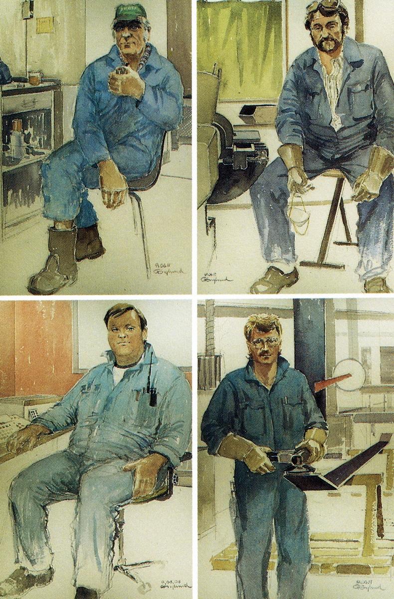 """1991-92. AGEVE. Vykort från uställningen i Paris. """"Portraits D´Atelier"""". Georg Englunds akvareller av/till arbetarna i Gävle när AGEVE flyttade 1993. En utställning i Paris 1993. Akvarellerna ställdes även ut i lunchrummet på AGEVE."""
