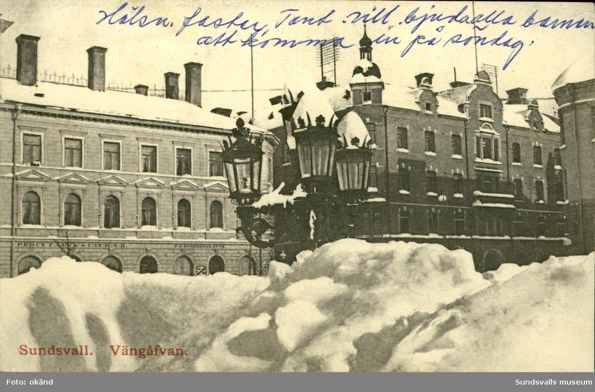 Vykort med vintermotiv vid Vängåvan i Sundsvall.