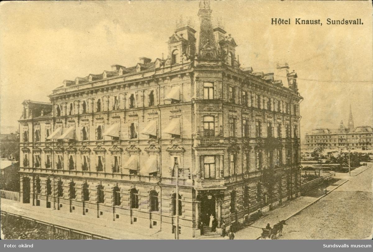Vykort med motiv av Hotell Knaust i Sundsvall.