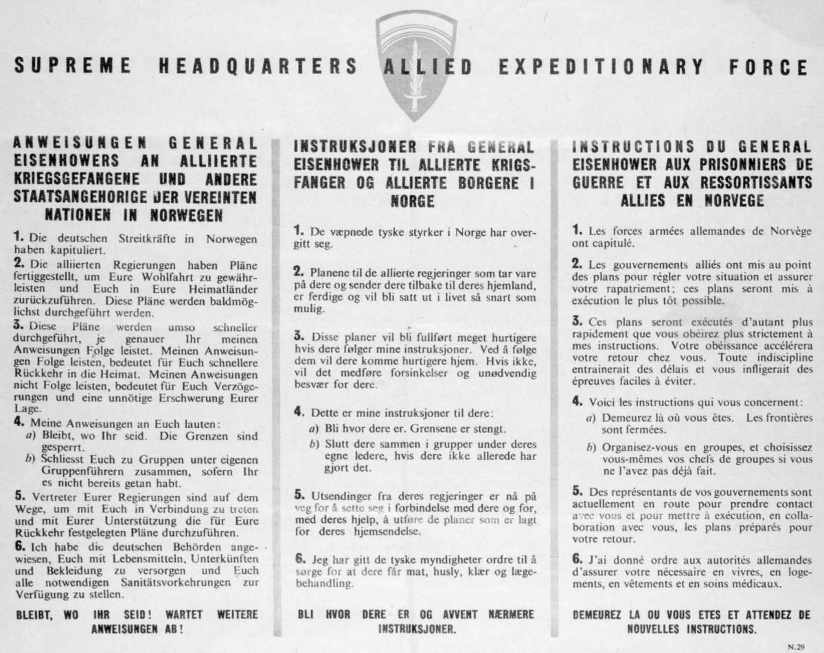 Repro: Oppslag om tysk kapitulasjon. På tysk, engelsk og fransk.